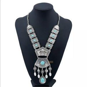 Silver turquoise bead long tassel bib necklace